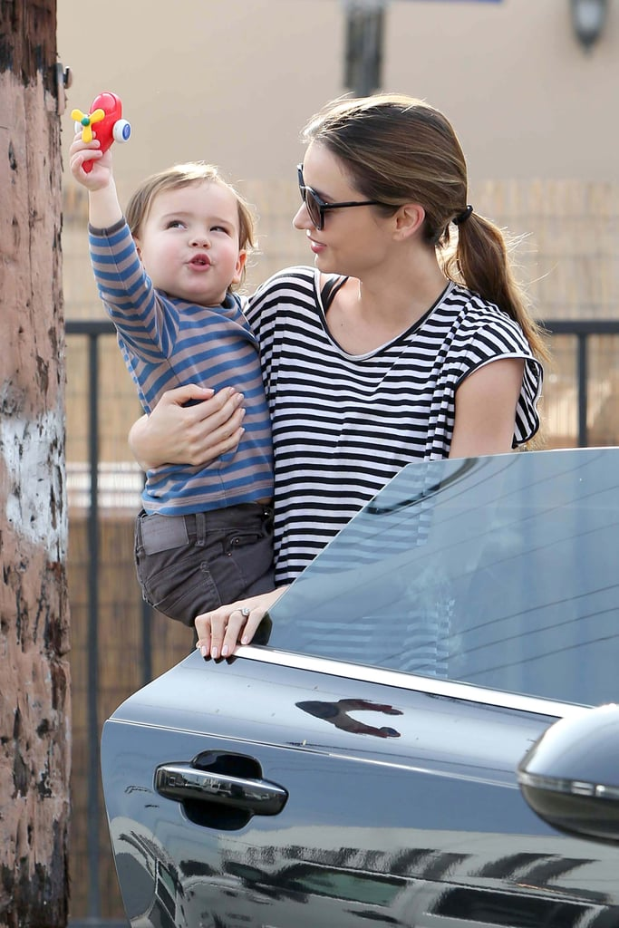 Miranda Kerr and son Flynn wore matching stripes for a day out in Los Angeles on January 9.