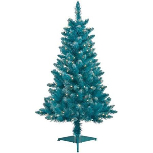 teal blue tinsel tree