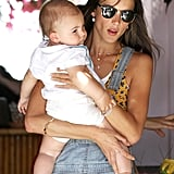 Before heading out to Coachella, Alessandra Ambrosio celebrated her birthday over lunch with her family in LA.