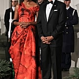 Wearing Alexander McQueen at a state dinner with Chinese President Hu Jintao in 2011.