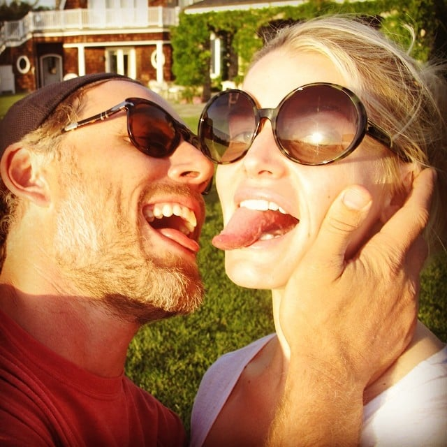 Jessica Simpson and fiancé Eric Johnson showed off their tongues. Source: Instagram user jessicasimpson