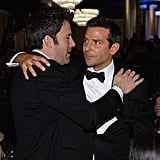 Ben Affleck and Bradley Cooper hugged and chatted. Source: Larry Busacca/NBC/NBCU Photo Bank/NBC