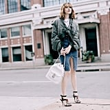 A Tight-Fitting Denim Skirt With Your Puffer Coat