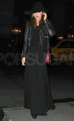 Miranda Kerr in Balenciaga Leather Jacket and Mason Skirt