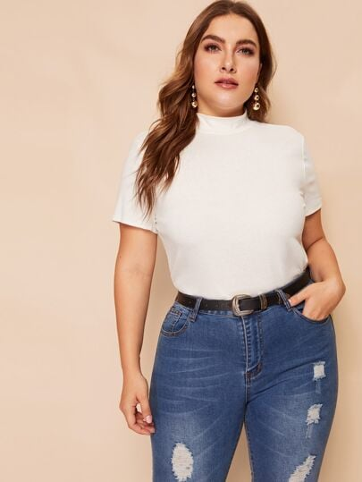 Shein Plus Mock-Neck Slim Fitted Tee