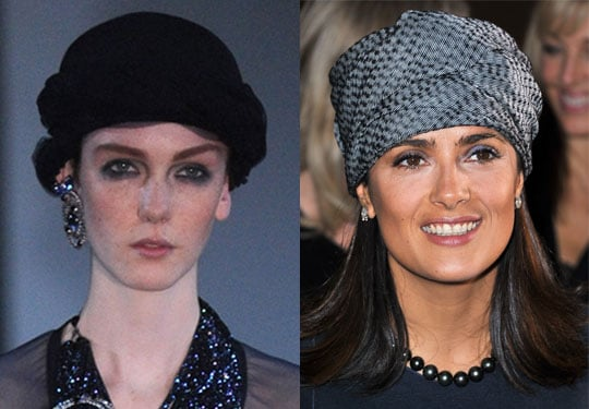 Salma Hayek Wears a Trendy Turban at 2011 Spring Paris Fashion Week 2010-10-04 11:00:09