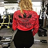 Khloé was sporting her Adidas gear at the gym.