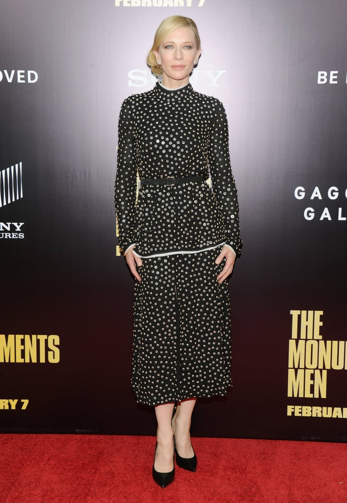 Cate Blanchett wore a black number.
