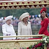 Kate joined the queen and Camilla on the royal barge.