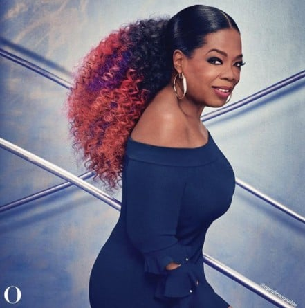 Oprah Wears Purple Hair on the Cover of O Magazine Feb. 2018