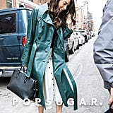 Amal Clooney Wearing Teal Trench Coat