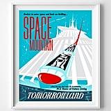 Vintage Space Mountain Nursery Print
