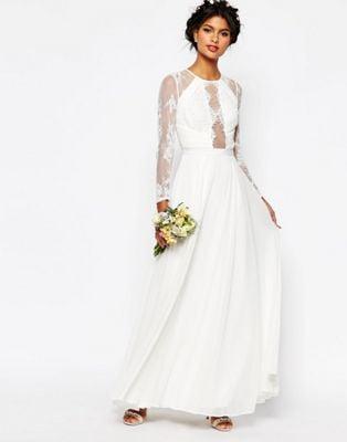 Asos Bridal Lace Paneled Wedding Dress