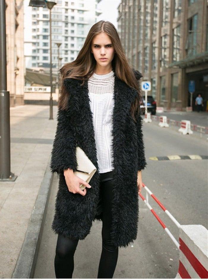 Gloria JR Fuzzy Faux Lamb Fur Coat