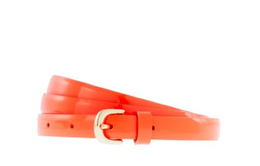 This belt pretty much nails on the bold and sophisticated front. We think it'll bode well for a sleek gray sheath cinch or a pop of color against a boyfriend jean worn on the weekend. J.Crew Patent Leather Skinny Belt in Neon Persimmon ($40)