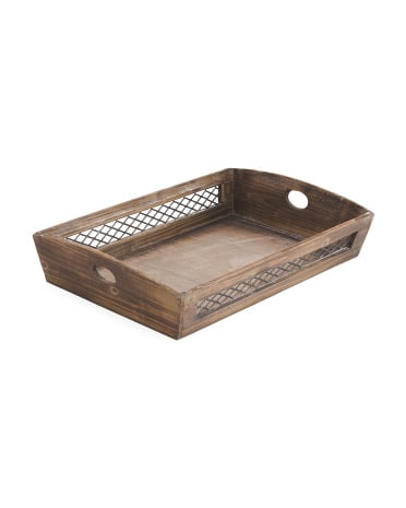 Large Wood With Wire Storage Tray ($17)
