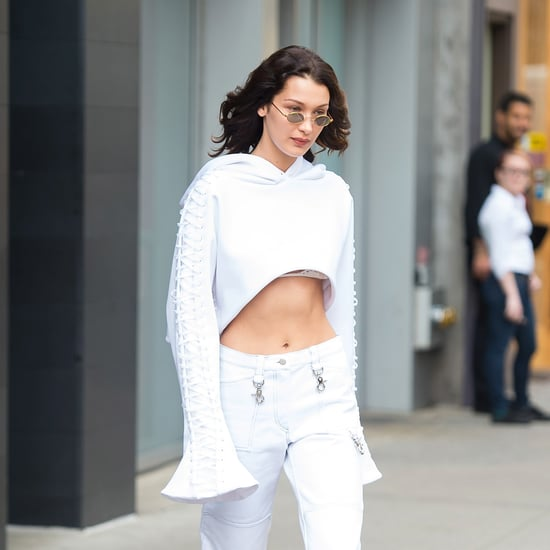 Bella Hadid White Cropped Hoodie and Bralette