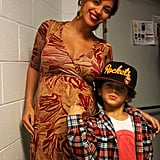 Pregnant Beyoncé Knowles posed with her nephew Julez.