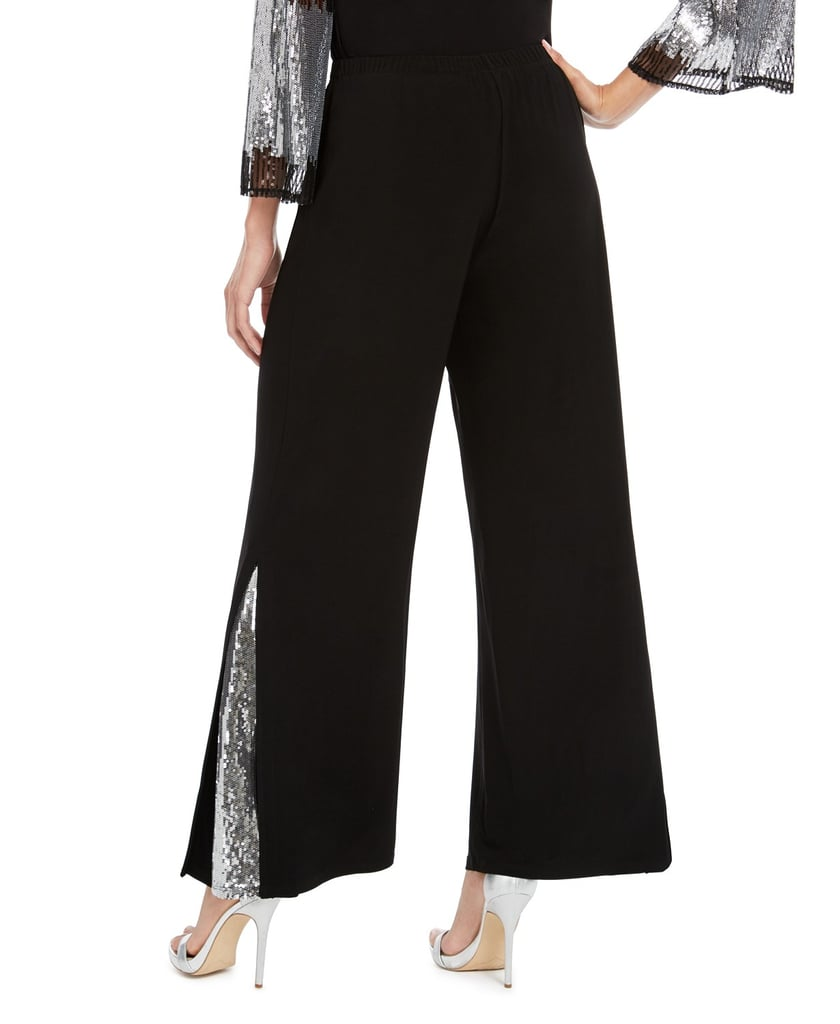 MSK Sequin-Inset Wide-Leg Pants