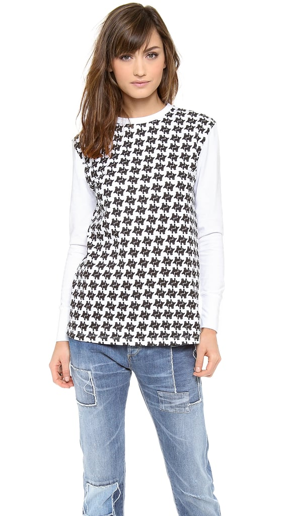 Cecile Houndstooth Long-Sleeved Top