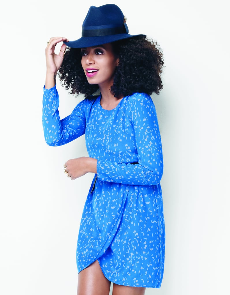 The easiest wrap dress topped with a cool wool hat; just finish off with ankle boots for a trans-seasonal look with character.