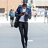 Keep it Simple With Sneakers, a White Tee, and a Leather Jacket