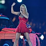 Geri Halliwell wore a Suzanne Neville designed updated version of her Union Jack minidress.