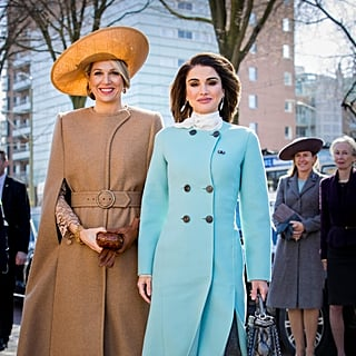 Queen Rania Wearing Light Blue Coat