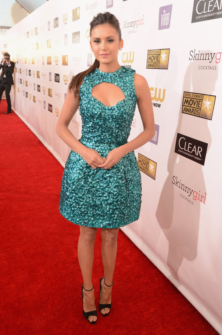 Nina Dobrev chose an embellished teal Monique Lhuillier dress for the Critics' Choice Awards.