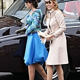 Princess Eugenie in Vivienne Westwood and Philip Treacy hat and Princess Beatrice in Valentino and Philip Treacy hat