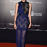Diane Kruger wore a navy and black lace Jason Wu gown at the Haiti: Carnival in Cannes event.