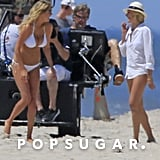 Bikini-clad Kate Upton laughed on the beach with Cameron Diaz while filming The Other Woman in the Hamptons.