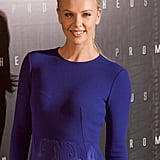 Charlize Theron looked beautiful in blue at the Paris Prometheus premiere.