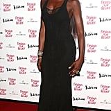 Naomi Campbell hosted a Fashion For Relief charity dinner, and for the festivities, she kept it sleek in an embroidered black Roberto Cavalli gown. To finish, she added silver bangles.