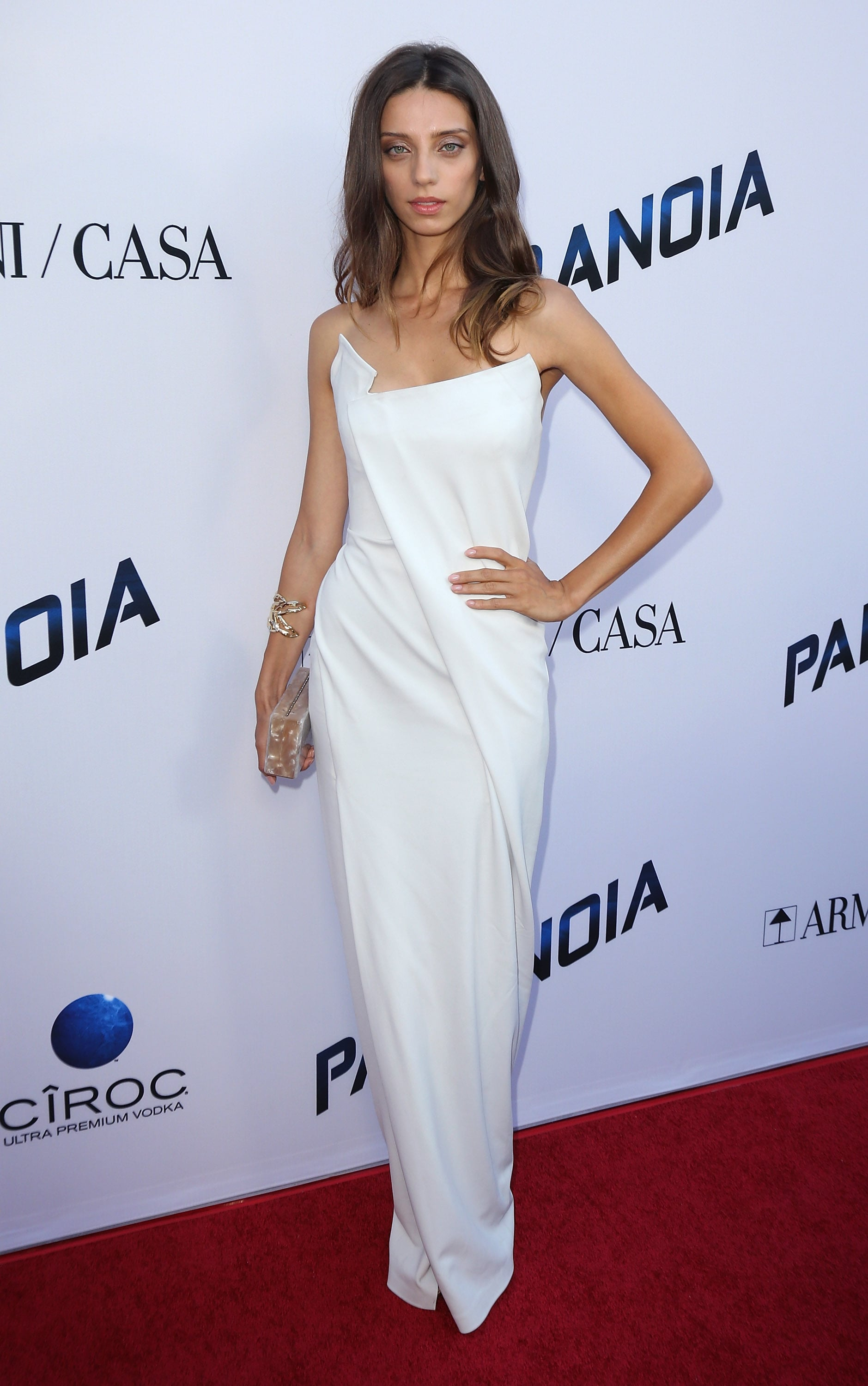 At the LA premiere of Paranoia, Angela Sarafyan brought the drama in a sculpted, white Donna Karan column.