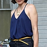 Milla Jovovich worked on the set of Cymbeline in NYC on Monday.