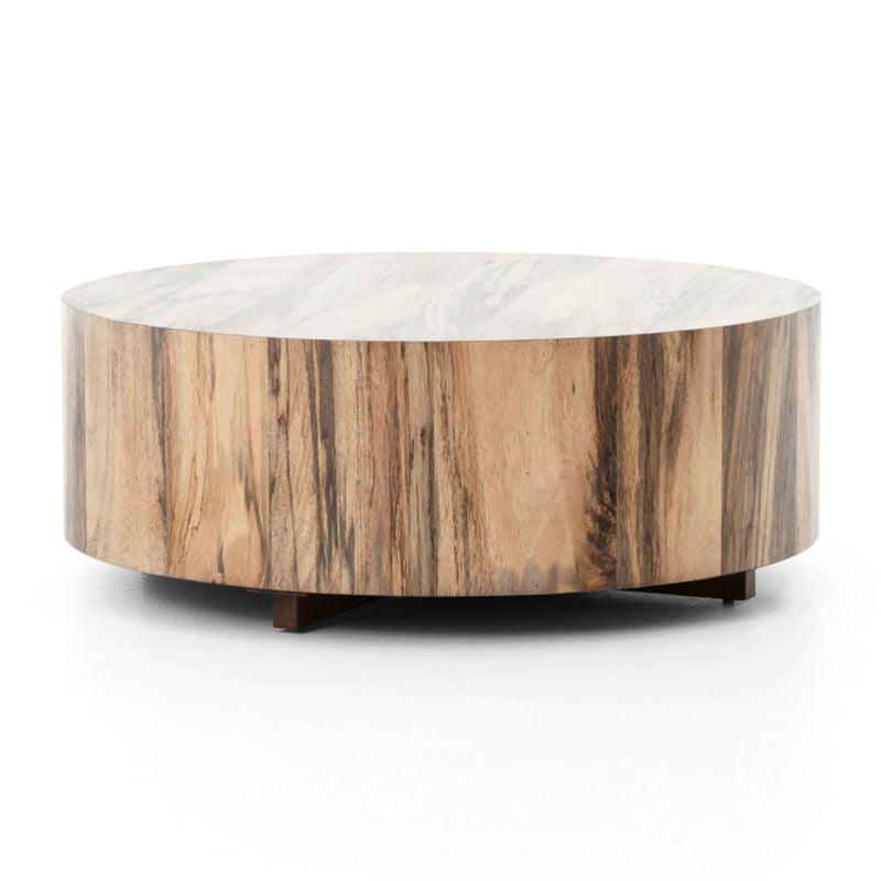 Celeste: Dillon Spalted Primavera Round Wood Coffee Table