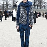 Print mixing in a cool blue palette adds up to a standout look outside the shows.