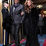 At President Obama's swearing-in ceremony in Washington DC, Beyoncé and Jay Z brought two sophisticated ensembles. Beyoncé chose a black Emilio Pucci gown while Jay Z wore a dark gray suit with a navy scarf.