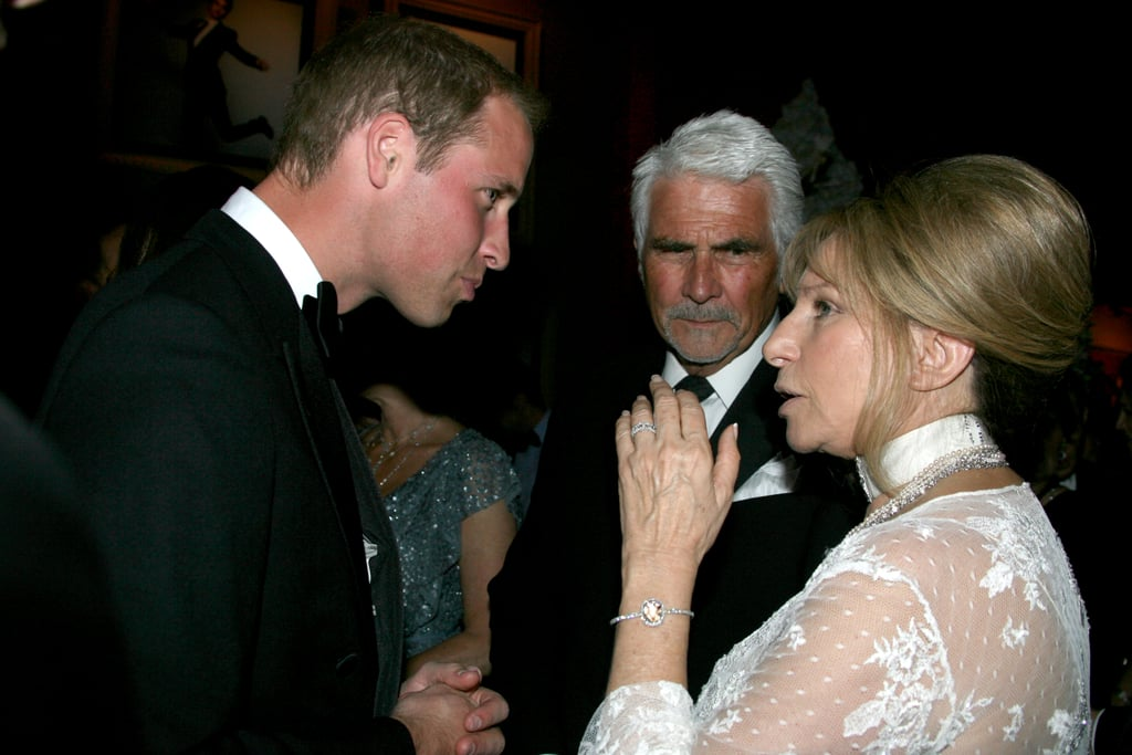 Prince William talking to Barbra Streisand and James Brolin at the BAFTA Brits to Watch event in LA.