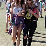 Ashley Benson and a friend made their way across the festival.