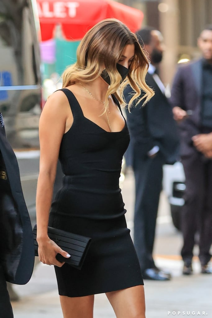 Hailey Bieber Wearing Black Minidress to Wedding in LA 2021