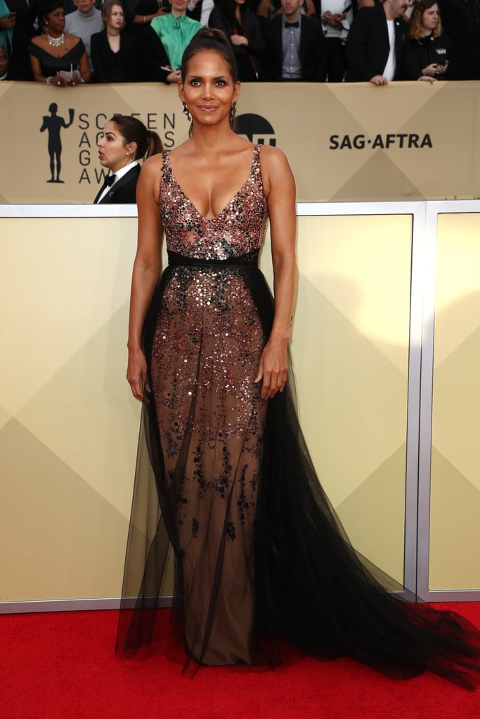 Halle Berry | Sequined Gowns at the SAG Awards 2018 | POPSUGAR ...