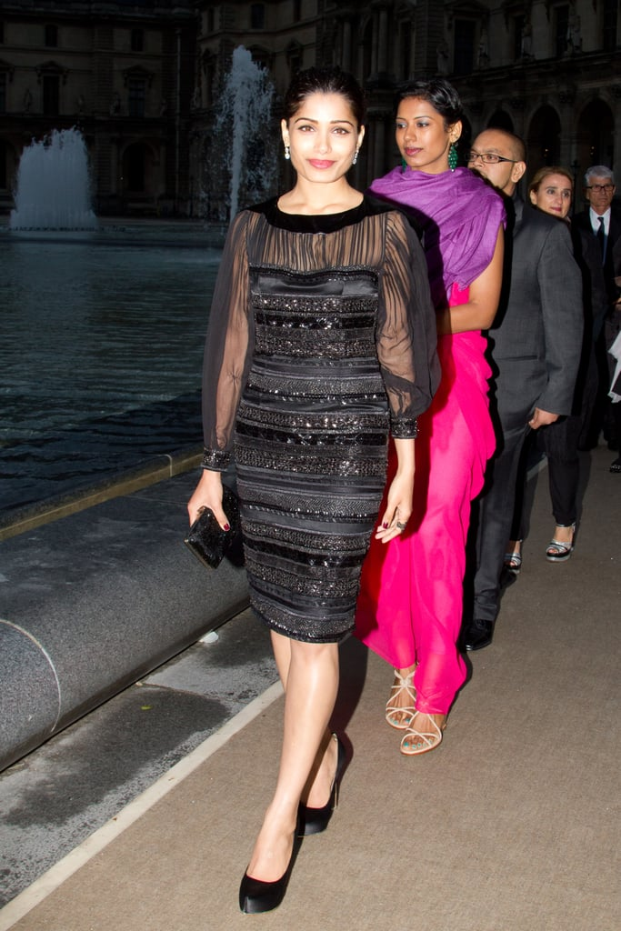 Freida Pinto walked into the Salvatore Ferragamo Resort collection show in Paris.