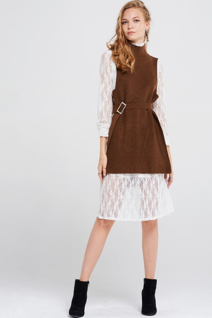Storets Britney Lace Dress With Knitted Vest