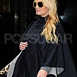 Jessica Simpson in a cape in NYC.