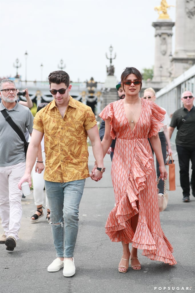 Priyanka Chopra Enjoyed a Romantic Boat Ride in Paris With Nick Jonas While Wearing a Plunging Maxi Dress