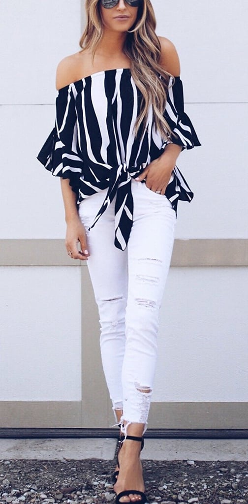 dc2ef2add8e40 Asvivid Striped Bell Sleeve Blouses