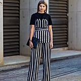 Mellow out stripes with a dose of solid black.