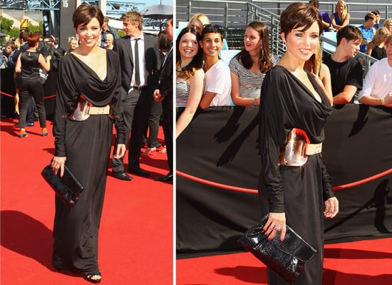 Pictures of Dannii Minogue on the Red Carpet in draped black dress at the 2011 ARIA Awards: Rate or Hate Her Look!